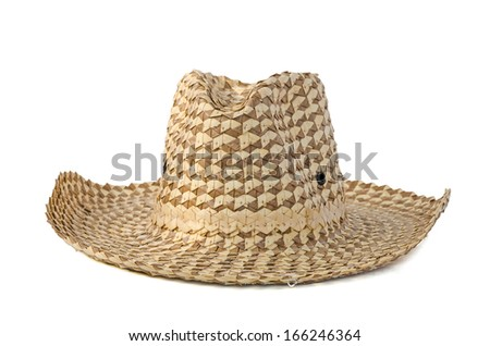 weave hat, brown weaving farmer hat isolated on white - stock photo