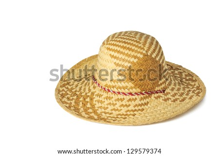 Weaving hat isolated on white background - stock photo