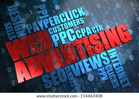WEB Advertising - Wordcloud Concept. The Word in Red Color, Surrounded by a Cloud of Blue Words. - stock photo