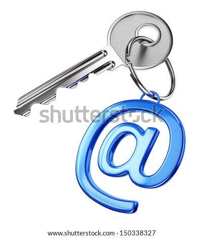 Web and email data security concept. Door key with blue glossy at symbol trinket isolated on white background.