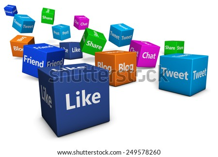 Web and Internet concept with social media and social network signs and words on bouncing colorful cubes isolated on white background. - stock photo