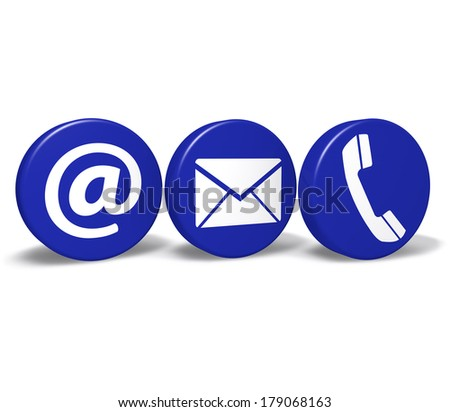 Web and Internet contact us concept with email, at and telephone icons and symbol on three blue round buttons isolated on white background.