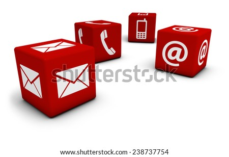 Web and Internet contact us concept with email, mobile phone and at icon and symbol on four red cubes for website, blog and on line business. - stock photo