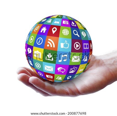 Web and Internet social media conceptual design with technology icons and symbol on a colorful globe and an open man hand. Isolated on white background. - stock photo