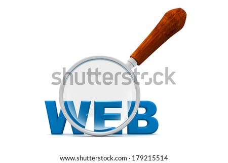 web and magnifying glass