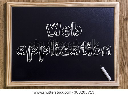 Web application - New chalkboard with 3D outlined text - on wood