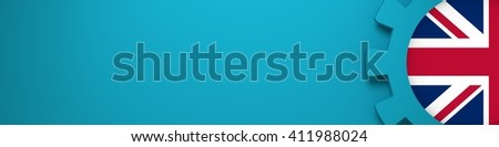 Web Banner, Header Layout Template. Gear and United Kingdom flag within. 3D rendering - stock photo