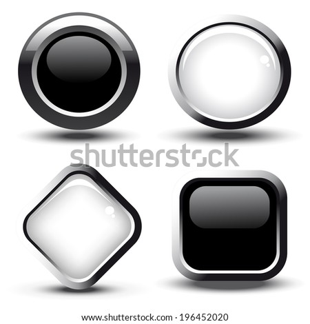 web black and white buttons, circle and square