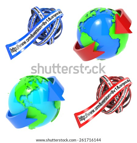 Web Browser Concept - Set of 3D World Wide Web and Address Line. - stock photo