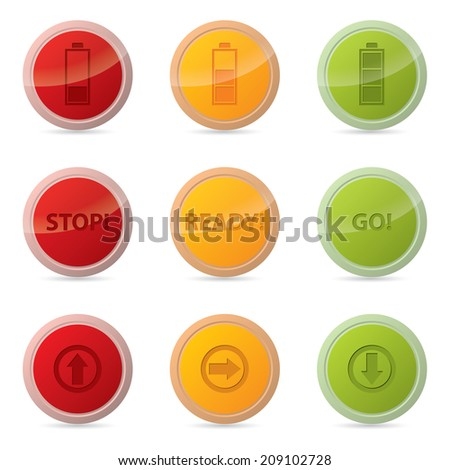 Web button set with various icons and traffic light colors - stock photo