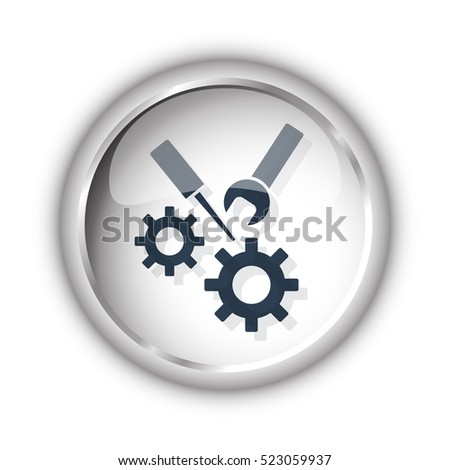 Web button with black Service icon on white background
