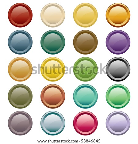 Web buttons in 20 round assorted colors. Isolated on white. Vector also available.