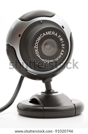 web cam black on a white background