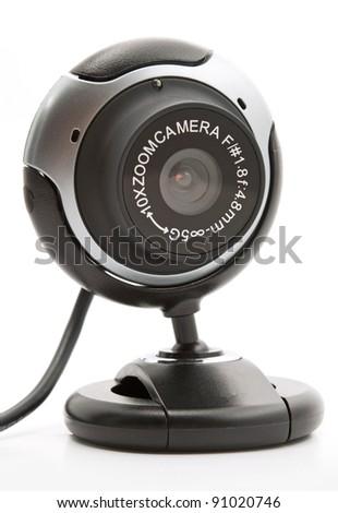 web cam black on a white background - stock photo