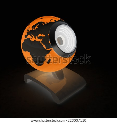 Web-cam for earth. Global on line concept on a black background - stock photo