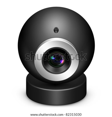 Web cam icon in black on isolated white background.