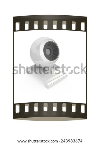 Web-cam on a white background. The film strip - stock photo