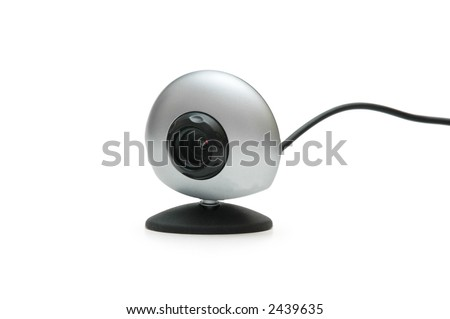 Web camera and cable isolated on white