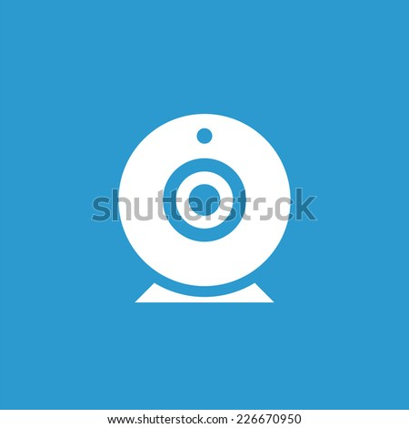 web camera icon, isolated, white on the blue background. Exclusive Symbols