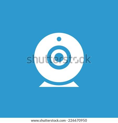 web camera icon, isolated, white on the blue background. Exclusive Symbols  - stock photo