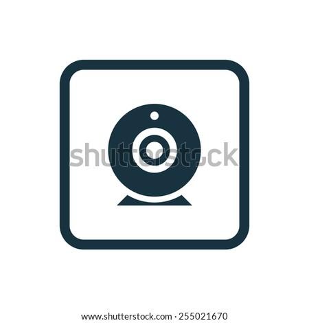 web camera icon Rounded squares button, on white background  - stock photo