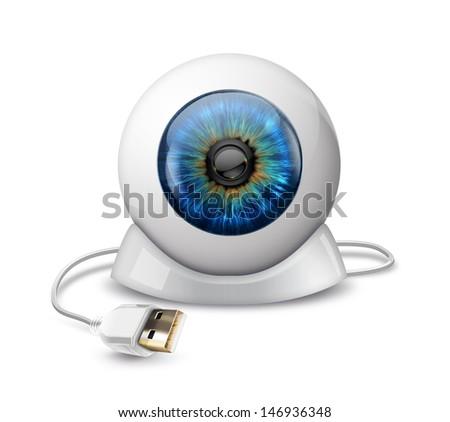 web camera in the shape of the eyeball - stock photo