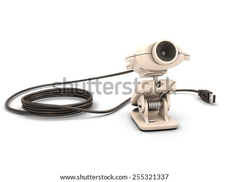 Web camera isolated on white background. 3d render image.