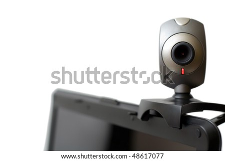 Web camera on laptop staring at you