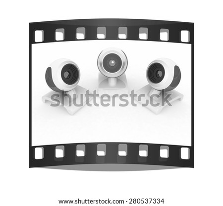 Web-cams on a white background. The film strip - stock photo