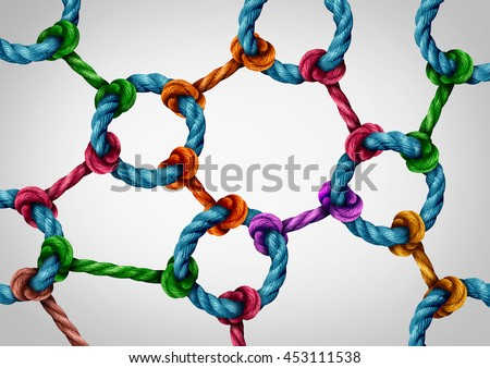 Web connection network as a social media networking structure symbol made of a group of diverse ropes connected by a circle rope icon as a communication technology metaphor for system integration. - stock photo