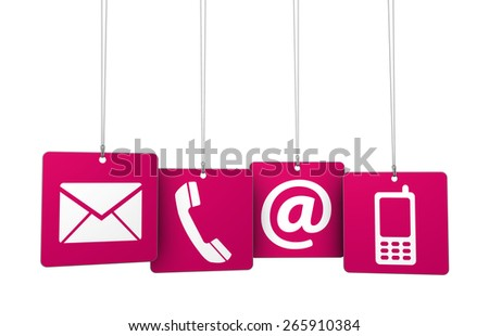 Web contact us Internet concept with email, mobile phone and at icon and symbol on four red hanged tags for website, blog and on line business. - stock photo