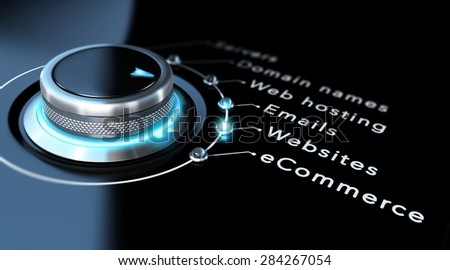 Web design company concept. Switch button pointing to websites, black background and blue design - stock photo