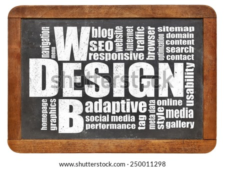web design concept - a word cloud on a vintage slate blackboard - stock photo