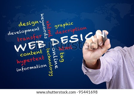 web design concept and other related words,hand drawn on white board - stock photo