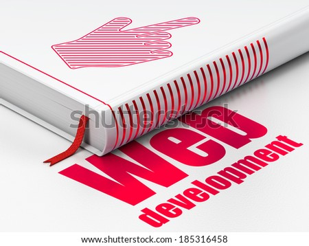 Web design concept: closed book with Red Mouse Cursor icon and text Web Development on floor, white background, 3d render - stock photo