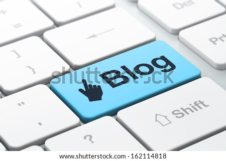 Web design concept: computer keyboard with Mouse Cursor icon and word Blog, selected focus on enter button, 3d render - stock photo
