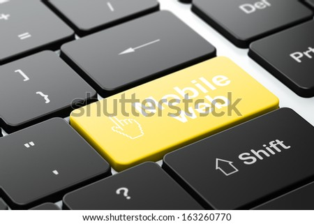 Web design concept: computer keyboard with Mouse Cursor icon and word Mobile Web, selected focus on enter button, 3d render - stock photo
