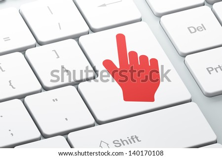 Web design concept: Enter button with Mouse Cursor on computer keyboard background, 3d render - stock photo