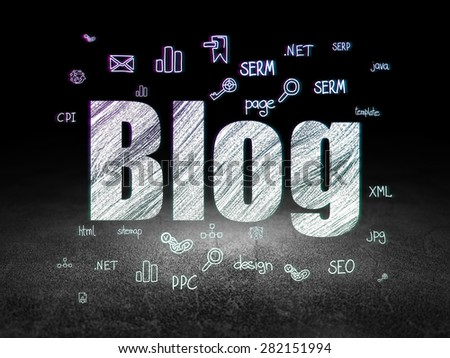 Web design concept: Glowing text Blog,  Hand Drawn Site Development Icons in grunge dark room with Dirty Floor, black background, 3d render - stock photo
