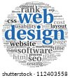 Web design concept in word tag cloud on white background - stock