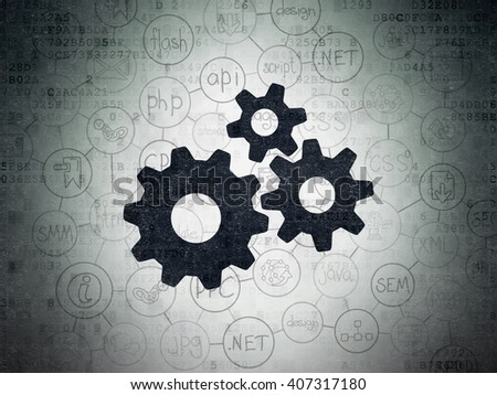 Web design concept: Painted black Gears icon on Digital Paper background with Scheme Of Hand Drawn Site Development Icons - stock photo