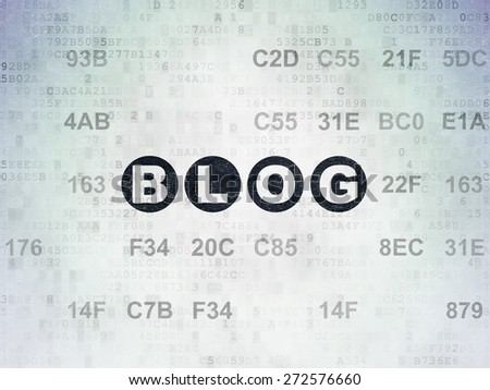 Web design concept: Painted black text Blog on Digital Paper background with Hexadecimal Code, 3d render - stock photo