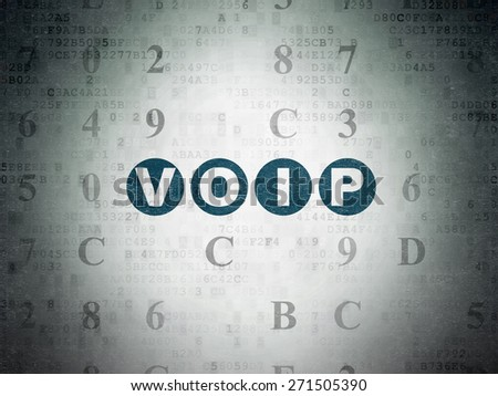 Web design concept: Painted blue text VOIP on Digital Paper background with Hexadecimal Code, 3d render - stock photo