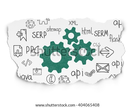Web design concept: Painted green Gears icon on Torn Paper background with  Hand Drawn Site Development Icons - stock photo