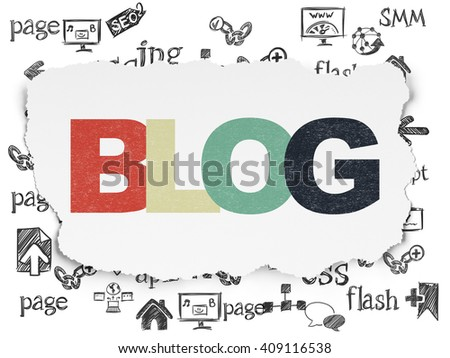 Web design concept: Painted multicolor text Blog on Torn Paper background with  Hand Drawn Site Development Icons - stock photo