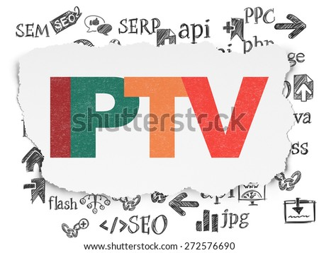 Web design concept: Painted multicolor text IPTV on Torn Paper background with  Hand Drawn Site Development Icons, 3d render - stock photo