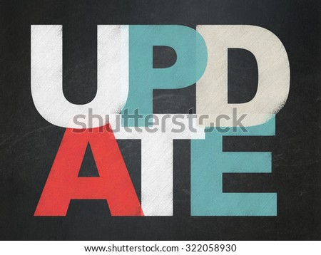 Web design concept: Painted multicolor text Update on School Board background - stock photo