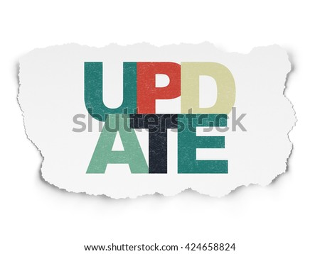 Web design concept: Painted multicolor text Update on Torn Paper background - stock photo