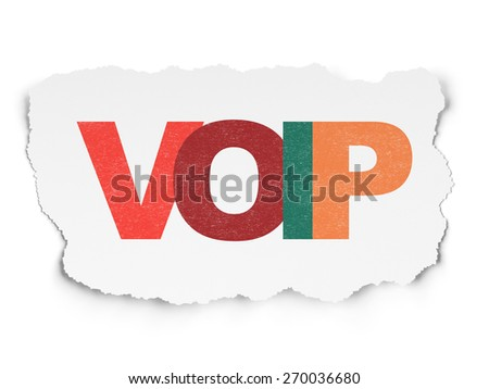 Web design concept: Painted multicolor text VOIP on Torn Paper background, 3d render - stock photo