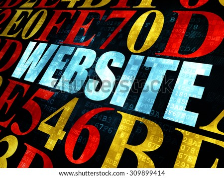 Web design concept: Pixelated blue text Website on Digital wall background with Hexadecimal Code - stock photo